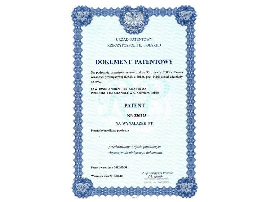 Skan Dokumentu Patentowego dla Nawilżacza TRIADA, 2015 rok