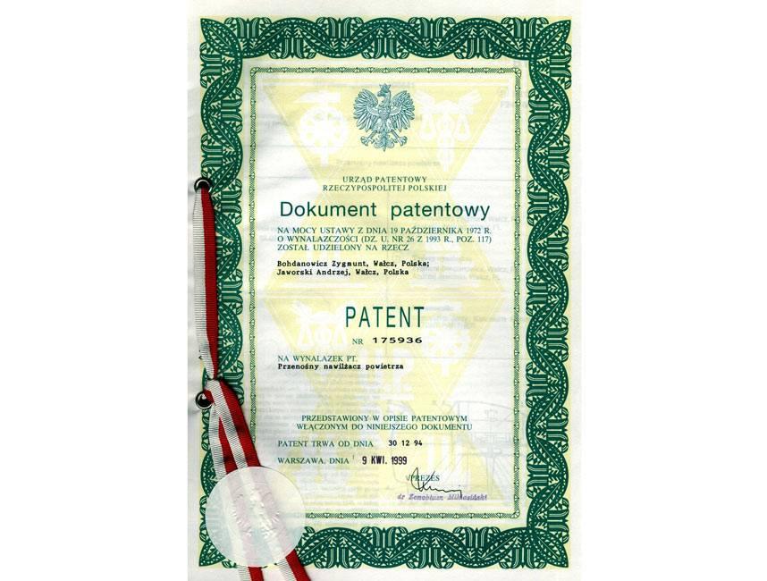Skan Dokumentu Patentowego dla Nawilżacza TRIADA, 1999 rok