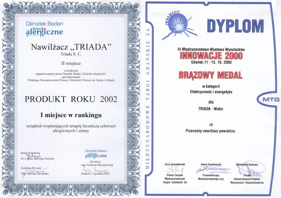dyplomy i nagrody za nawilżacz powietrza