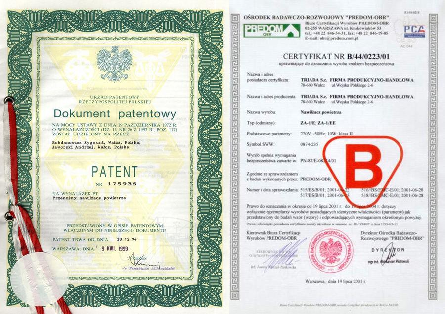 patent i certyfikat